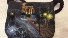 Валяная мужская сумка«Ночь, Харьков, Благовест.»