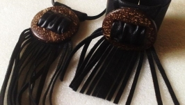 Кожаный комплект-браслет и кулон авторская работа