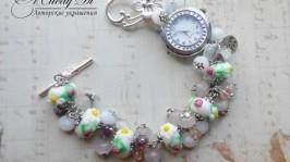 Часы с браслетом Цветочное поле