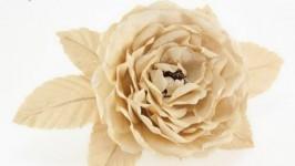 Заколка с бежевой розой