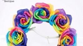 Ободок для волос с радужными розами из ткани