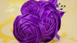 Заколка с фиолетовыми розами