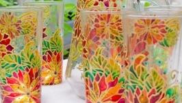 Кувшин и 6 стаканов для напитков «Цветочное ассорти»
