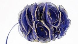 Браслет и кольцо с цветами из ткани Синий и золото