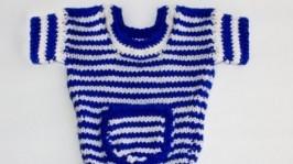 Синьо біле плаття в полоску для собак. Одяг для собак. Одяг для Йорків.