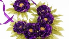 Комплект вечерних украшений Колье и браслет с цветами из ткани