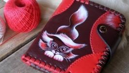 Кожаный кошелек «Красный котенок»