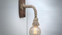 Бра из каната и состаренного дерева с лампой эдисона