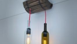 Лампа потолочная в виде бочки и винных бутылок
