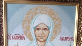 Вышивка, вышитая икона Матрона Московская