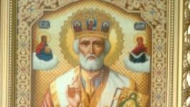 Вышитая икона гобелен Николай Чудотворец