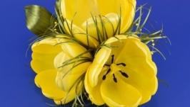 Заколка для волос с желтыми тюльпанами из лент