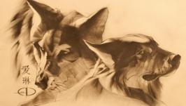 Волки.рисунок карандашом.