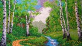 Картина вышитая бисером Березовая роща