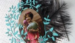 Пасхальная открыточка с девочкой
