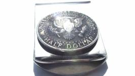 Зажим для денег с монетой HALF DOLLAR СЕРЕБРО (50 cents)