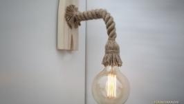 Бра из каната и состаренного дерева, деревянный настенный светильник