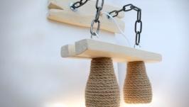 Бра из дерева на металлических цепях и абажурами из каната