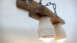 Бра из дерева на металлических цепях и абажурами из каната - Копия