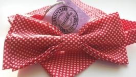 Комплект галстук-бабочка и платочек в горошек