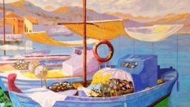 Картина маслом Лодки на побережье