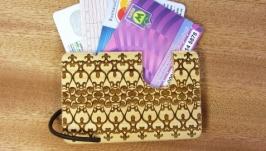 Картхолдер модель№ 8 дл кредитных карт Орнамент из натурального дерева
