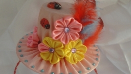Розовая шляпка на обруче (канзаши)