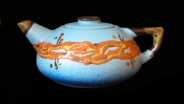 Чайник великий, декор крайка блакитний