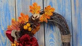 Декоративный интерьерный венок Багровая осень