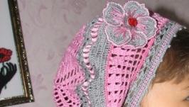 Ажурный беретик серо-розовый