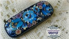 Футляр для очков расписанный вручную: «Голубые цветы»