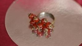 Кольцо с сердоликом Гроздь рябины