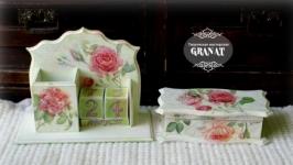 Комплект из вечного календаря и шкатулки:«Розовый сад» - 2 предмета