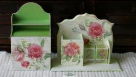 Комплект из вечного календаря и мини-комода: «Розовый сад» - 2 предмета