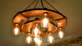 Деревянная люстра с светодиодными лампами Эдисона и светодиодными точками