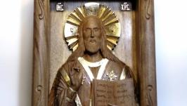 Резная миниатюрная икона Иисуса Христа