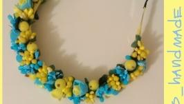 Желто-голубой ободок и повязка
