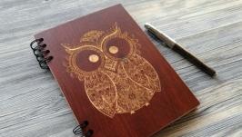 Блокнот ′Сова′ в деревянной обложке