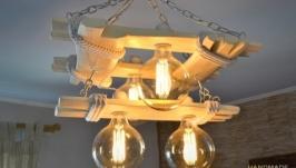 Люстра из состаренного дерева, деревянный светильник, лампы эдисона