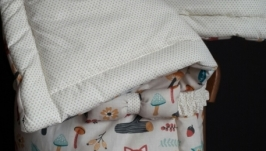 Одеяло-конверт-развивающий коврик из экокоттона Red foxes