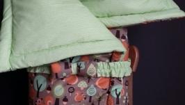 Одеяло-конверт-развивающий коврик из экокоттона Green forest
