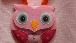 Детская сумочка из фетра Pink owl