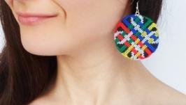 Вышитые серьги ′Кельтский стиль′