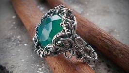Кольцо′Хризопраз в серебре′