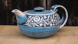 Чайник , декор ′Вінок′,кобальт