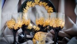 Подарочный набор из 6 бокалов для вина или воды и блюдо.