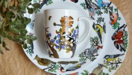Набор посуды с птицами