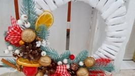 Віночок новорічний білий