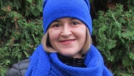 Шапка вязаная женская (чулок. бини) шапка шарф (синий)