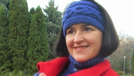 Комплект ′Василек′ Повязка на голову, манишка, митенки